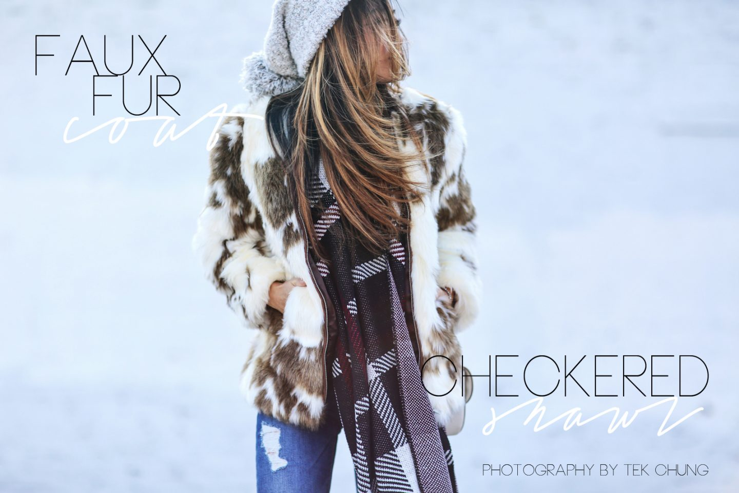 faux fur and checkered shawl winter look