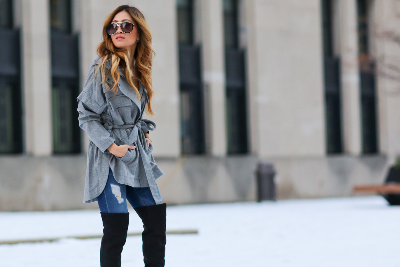 marissa webbb jacket and over the knee boots