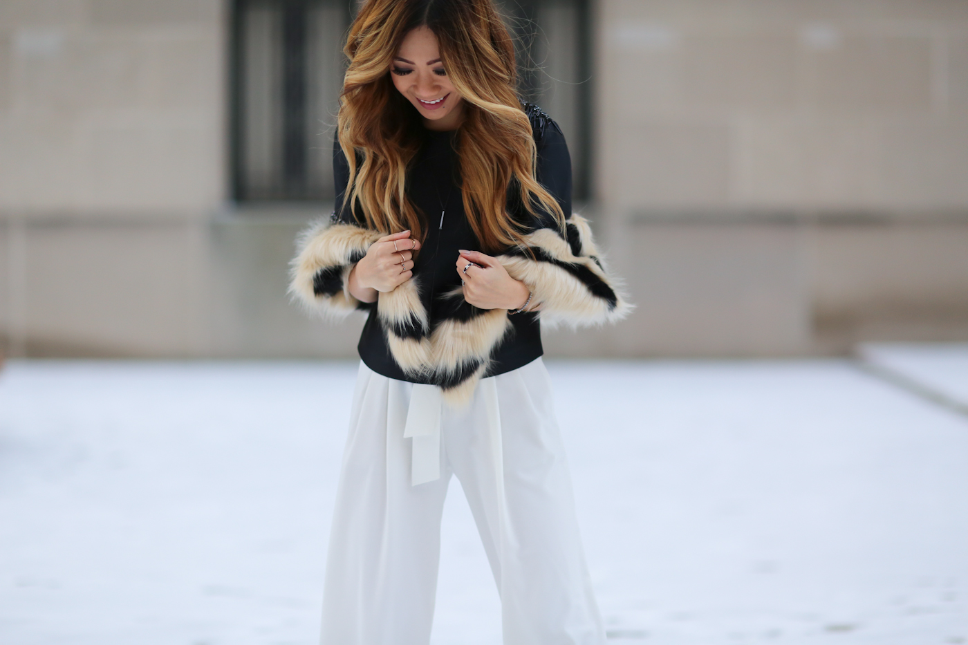 theoutnet beaded top and wide leg pants with faux fur shawl