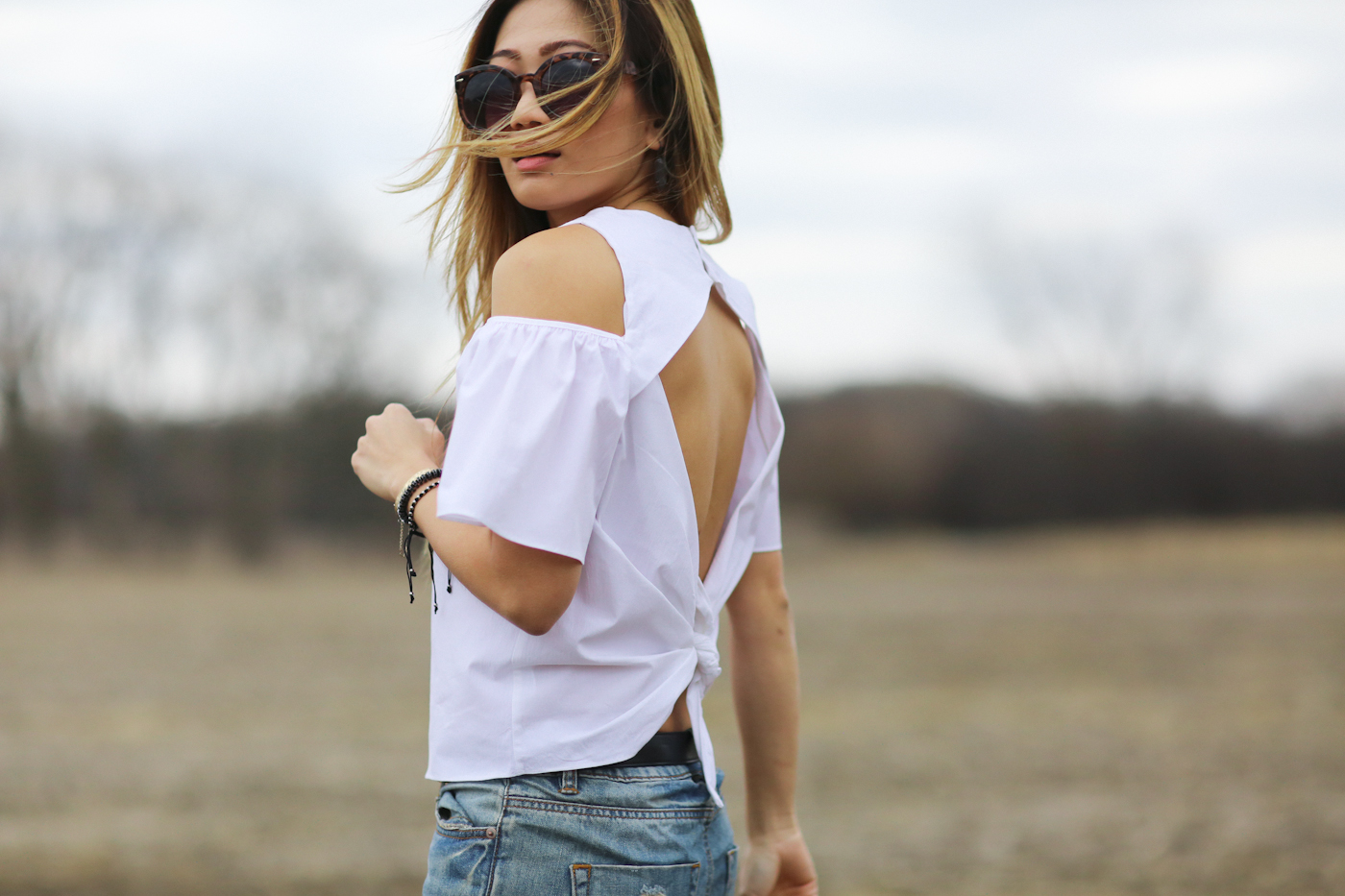 zara unconventional white top with flutter sleeves