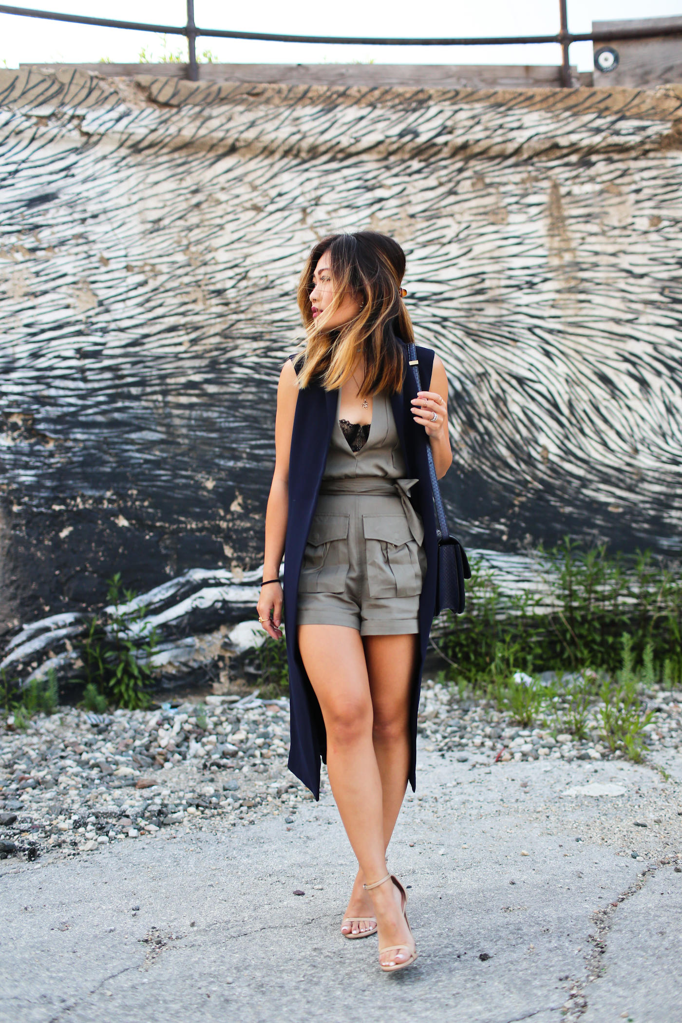 nasty gal cargo romper and iris and ink sleeveless long vest
