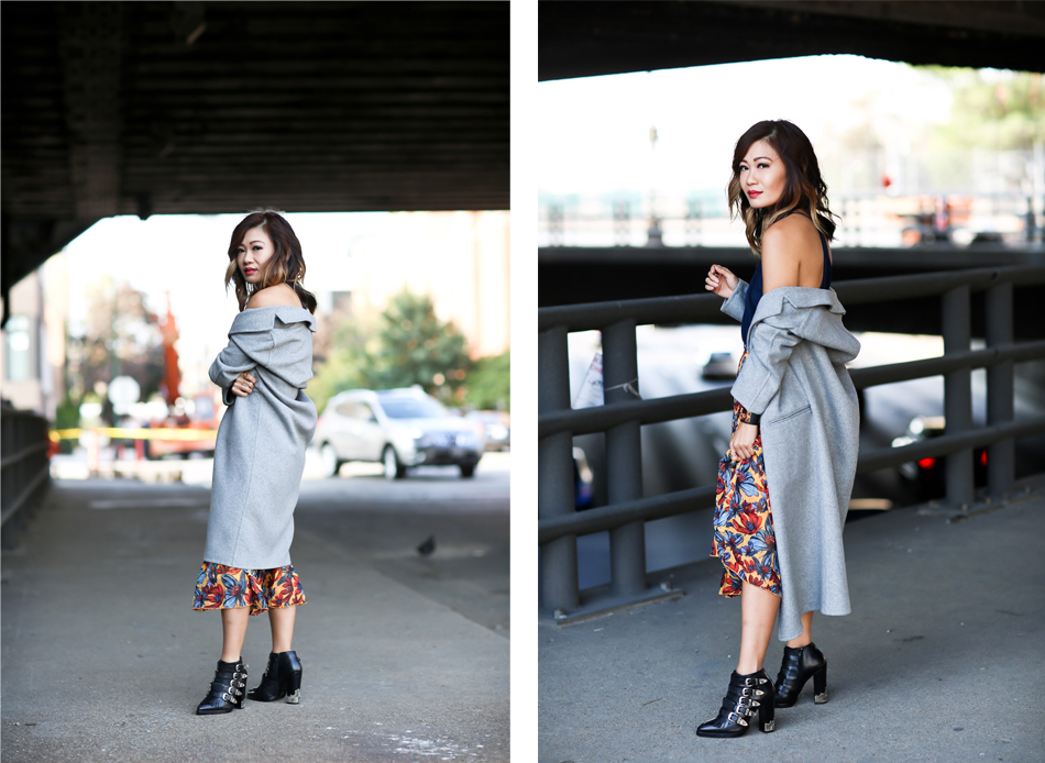 dressy lace cami with pleated skirt and oversized coat