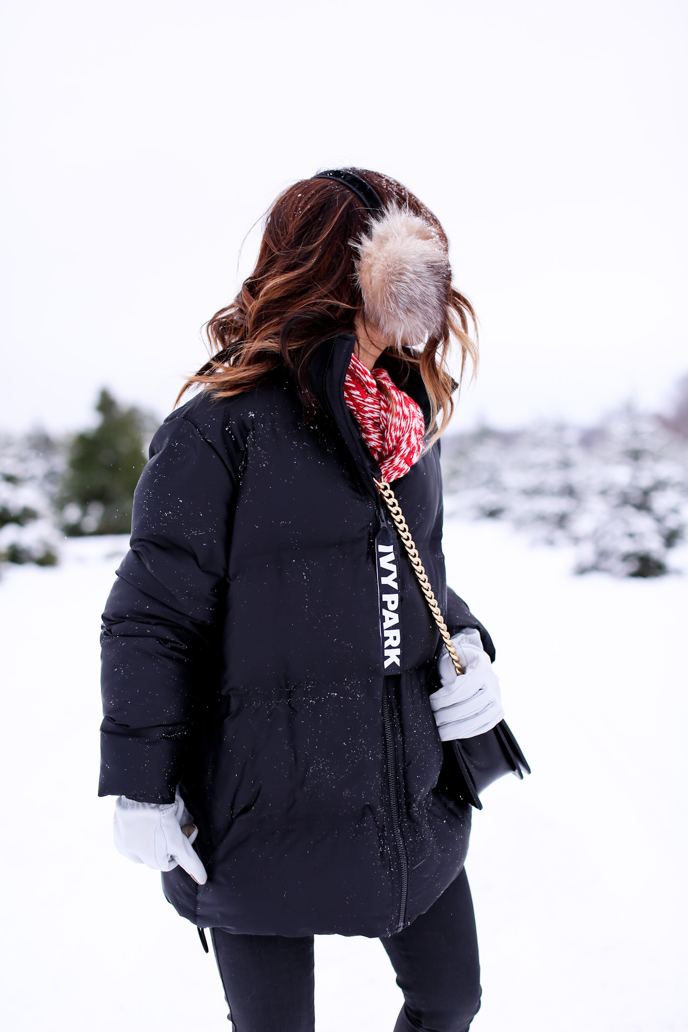 cut your own christmas tree farm ivy park snow day puffer winter look