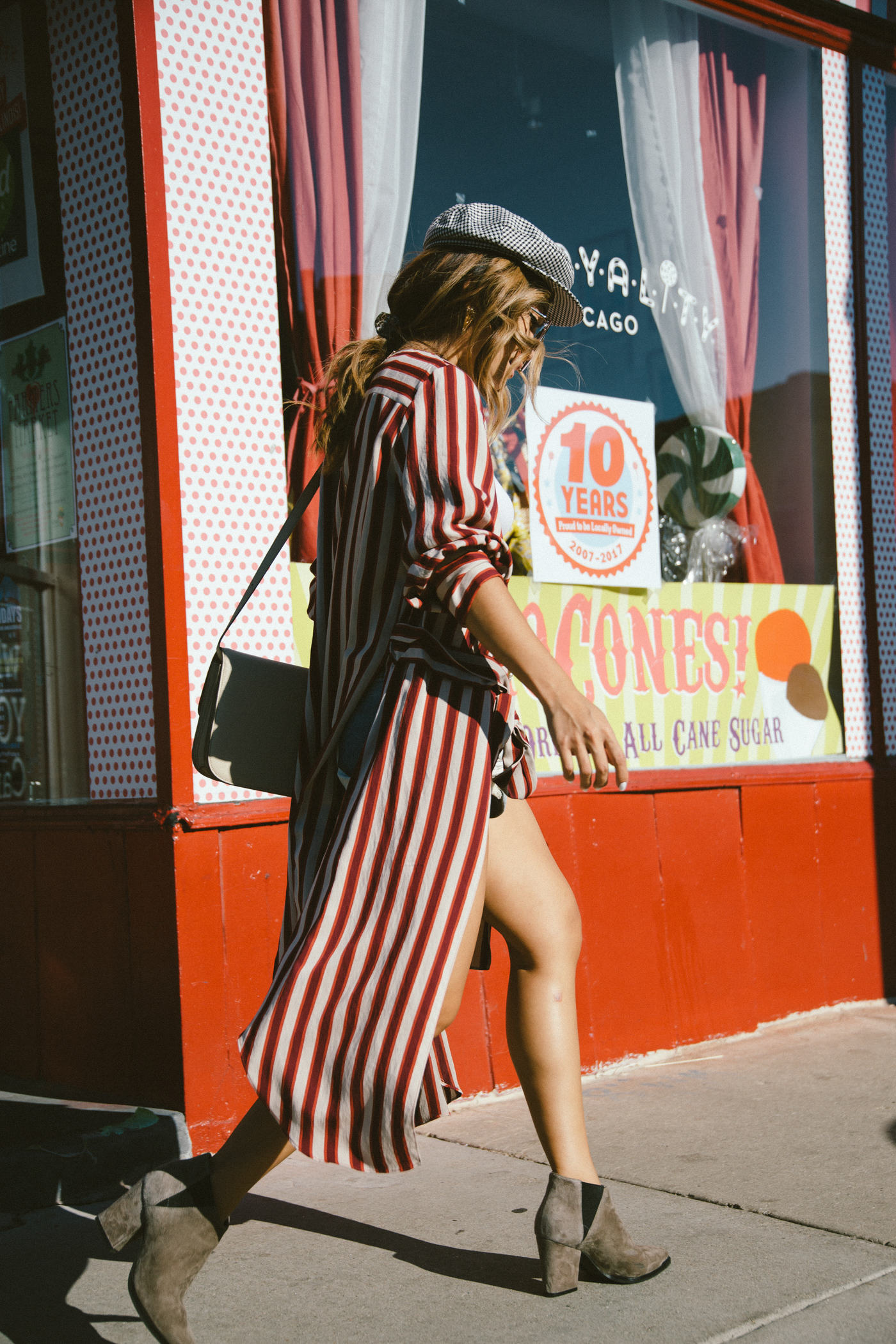 candy cane striped duster rose colored glasses