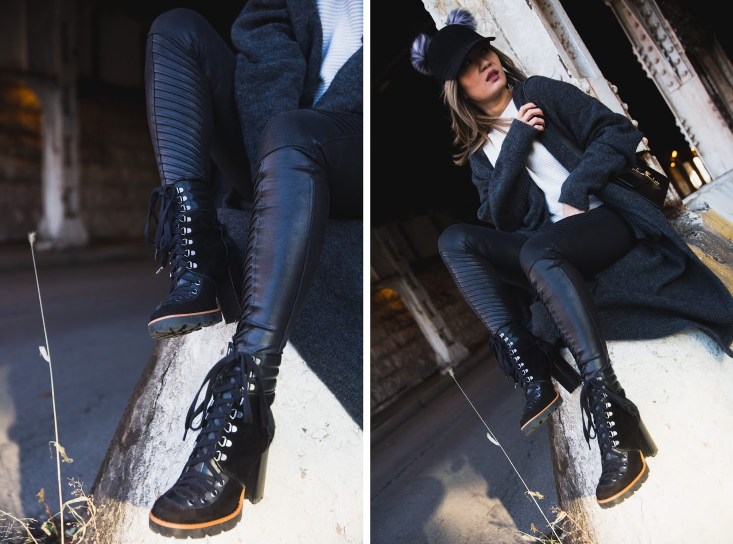 cold weather uniform faux leather moto leggings oversized cardigan combat high heel boots